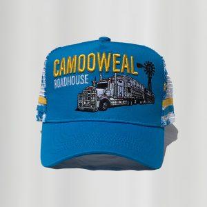 Blue-white-yellow cap